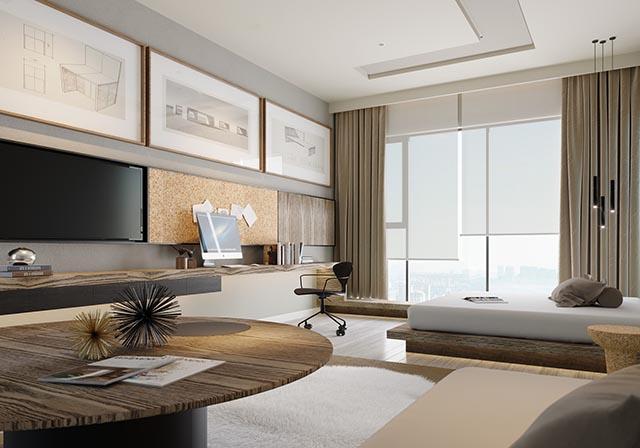 Nhà mẫu căn hộ Dual Key 3 phòng ngủ với không gian ngập tràn ánh sáng tự nhiên
