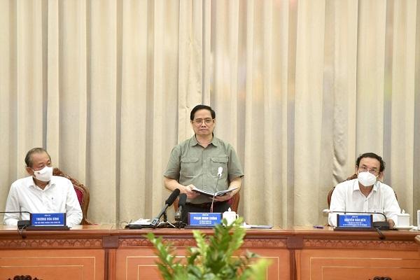 Thủ tướng Phạm Minh Chính làm việc với lãnh đạo TP.HCM về tình hình phòng, chống dịch Covid-19 tại TP.HCM